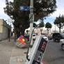 Victory Powder Coating & Sandblasting  Inc. - Los Angeles, CA. View of corner Nintendo controller at 58th & Broadway, showing Rubik's cube and metal sliding Tetris door