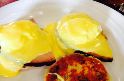 Marty's Cafe - Truckee, CA. Daily Special Eggs Benedict with Black Forest Ham. Delish!