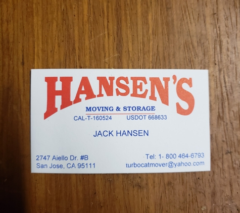 Hansen's Moving & Storage - San Jose, CA