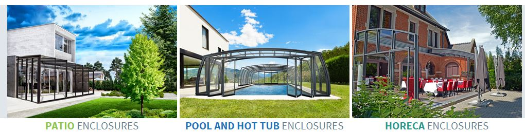 Logo: Services/Products: Swimming Pool Enclosures Spa Enclosures Hot Tub  Enclosures Swim Spa Enclosure Gazebo Patio Enclosures Sunrooms Restaurant  ...