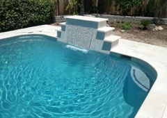 Hartt's Pool Plastering - Turlock, CA. water feature added to already existing pool
