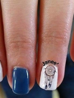 Natural Nails with Shellac and a Dreamcatcher