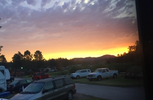 Sunset over the black hills from our campsite.