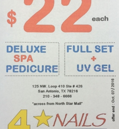 Luxury Nails - San Antonio, TX. They have White Tip Full Set with UV gel for only $22.      And just $22 for a Deluxe Spa Pedicure