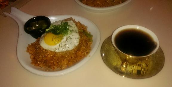 Haus by coffee hunter - Los Angeles, CA. Kimchi fried rice and El Salvador coffee
