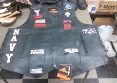 D & L's Leathercrafts & Boots - Kennewick, WA. Patches on leather vest