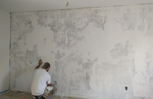 Skimming the Ugly Wall to re texture and paint.