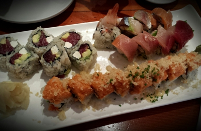 Sanraku - San Francisco, CA. Philedelphia with cream cheese, rainbow and crunch roll