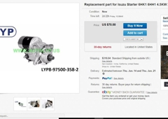 LIAONING AUTOMOTIVE ZONE MFG. GROUP USA INC. - Irvine, CA. Isuzu Starter on sale for only $70 including shipping in the US! Get yours now! Limited supply!