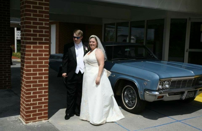 Bella Bridal And Formal Wear - Winchester, VA. Me and my New Husband with our  get-away car (66' impala)