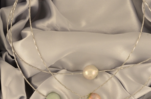 South Beach - Pearl Necklace, 2 pearls and 1 jade bauble for 1 low price