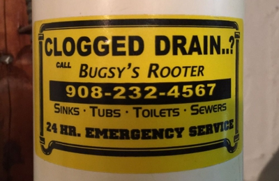 BUGSY'S ROOTER & DRAIN CLEANING - Cranford, NJ. His sticker on my PVC pipe...