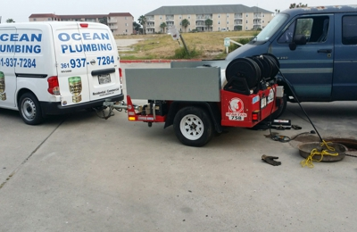 Ocean Plumbing Inc. - Corpus Christi, TX. We offer Hydro-jetting it uses higher pressure to fully clean stop up drains!