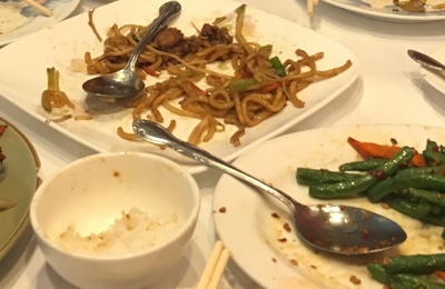 Three Brothers From China - San Ramon, CA. Family couldn't wait to dig in!  Left to right salt and pepper pork, beef chow mein, green beans, orange chicken.