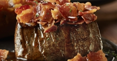 LongHorn Steakhouse. Try LongHorn's NEW Bacon-Bourbon Topped Filet topped with applewood smoked bacon and housemade bourbon brown sugar glaze.
