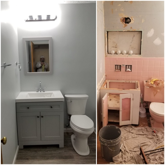 Jose's painting and Handyman services - Cincinnati, OH. Bathroom Remodeling  Vanity replace, toilet install, flooring install, bathtube installation and shower enclosures install