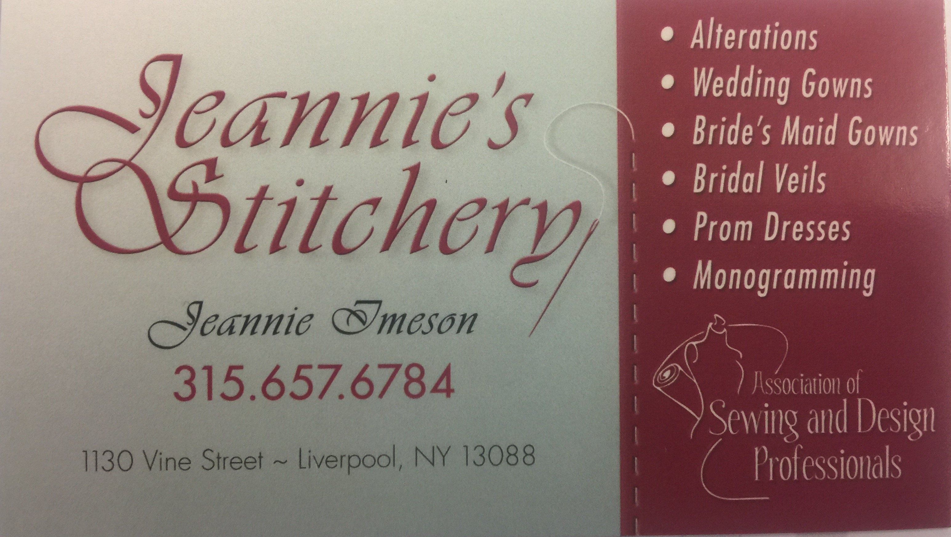 jeannie s stitchery liverpool ny yp com alterations on bridal attire others