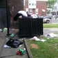 The Terrace Apartments - Philadelphia, PA. Trash everywhere except the dumpster...