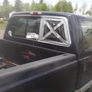 Safelite AutoGlass. Rear window on the passenger side of the truck is broken.