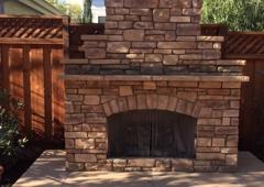 Jones Masonry - San Jose, CA. Outside fireplace