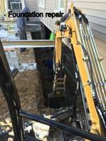 Excavating to repair foundation