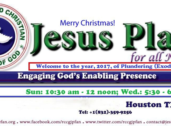 Jesus Place for all Nations @ RCCG (RCCG JPfaN) - Houston, TX