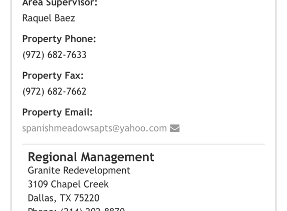 Spanish Meadows Apartments - Mesquite, TX. Corporate office and owner information for property
