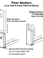 Pinquist Tool & Die: Floor Anchors (low wall & knee wall partitions)