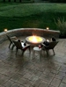 Stamped Patio with built Fire-Pit and Sitting Wall