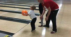 Galaxy Bowling - Richmond, KY. Teaching JJ how to bowl