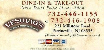 Vesuvio Pizza, Millstone Township NJ