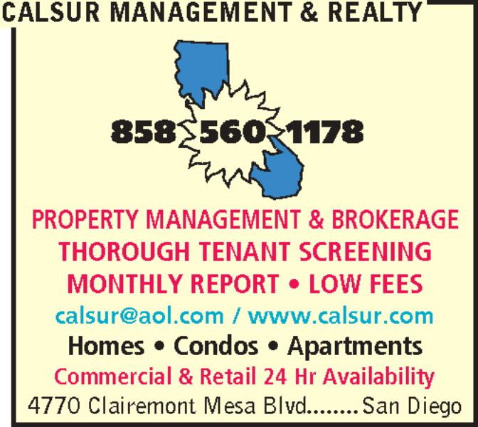 Calsur Property Management 8304 Clairemont Mesa Blvd Ste